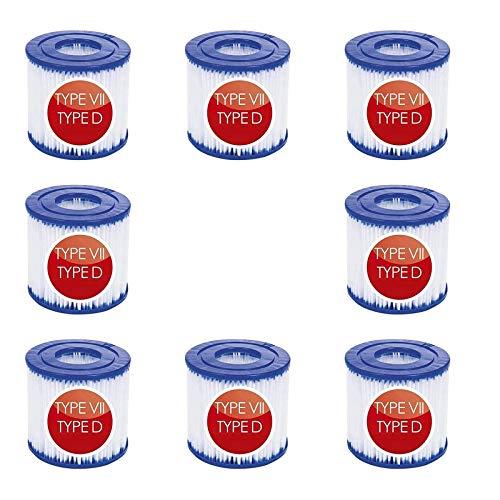 YXLM - Filtro de piscina para Bestway tipo VII y para Intex D, Spa de repuesto para filtro de piscina hinchable, repuesto de filtro de limpieza (8 piezas)