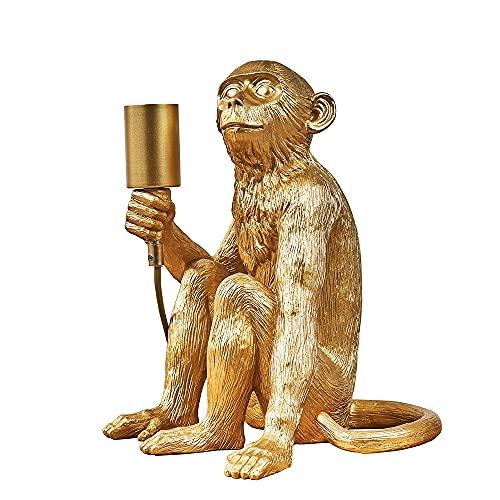 MiniSun – Tischlampe mit sitzendem Affen-Design in Gold – Affenlampe sitzend – Affenlampe gold – Lampe Affe gold – Affe Lampe gold (40 W, E27) [Energieklasse A++]