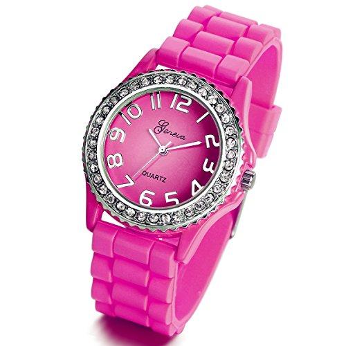 Lancardo Reloj Analógico Elegante de Cuarzo Original Jalea Correa de Silicona Pulsera Electrónica de Moda con Bisel de Diamantes Artificiales Dial con Números Árabes para Mujer Dama (Rosa Roja)
