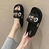 Ririhong Zapatillas de Suela Gruesa Mujer Verano 2021 Nuevo baño Antideslizante Sandalias de Uso Interior y Exterior y chanclas-35_Black