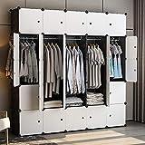 GEORGE&DANIS Portable Wardrobe Closet (71x18x71 inches) Cube Storage Organizer Plastic Dresser Bedroom Armoire Carbinet Shelf, Black