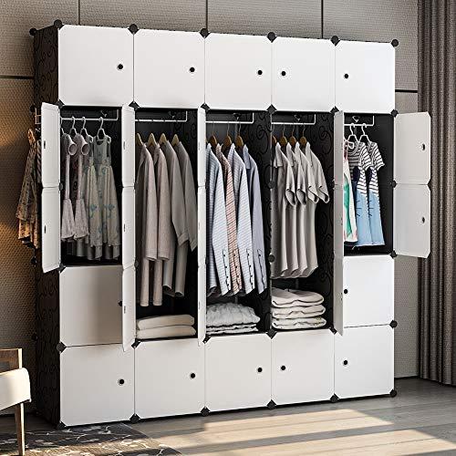 GEORGE&DANIS Portable Wardrobe Closet 71x18x71 inches Cube Storage Organizer Plastic Dresser Bedroom Armoire Carbinet Shelf Black