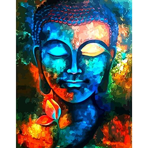 Malen Nach Zahlen Erwachsene & Kinder,Buddha-Avatar DIY Handgemalt Ölgemälde Kit für Anfänger und Erwachsene,Einzigartige Geschenk Home Haus Deko, Acrylpigment für Gemälde 40 × 50 cm (Rahmenlos)