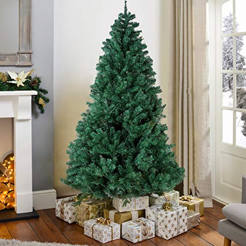 YOUNIS 5.5ft Unlit Artificial Christmas Tree, Holiday Premium Hinged Fir Spruce PVC Xmas Tree with Metal Stand, Easy Assembly with 850 Tips, Xmas Decor for Indoor and Outdoor