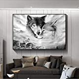 ganlanshu Rahmenloses GemäldeWolf Tier Leinwand Bild