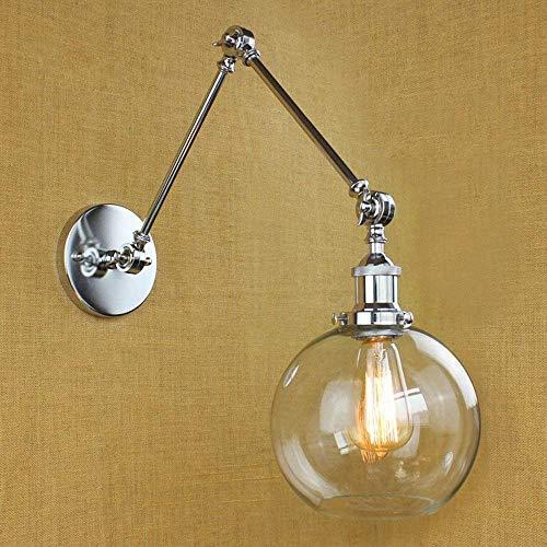 ZHANGYY Lámpara de Pared Pantalla Global Columpio Ajustable 2 Brazos Mini lámpara de Pared Clásico Retro y Vidrio Transparente Plata de Alto Gusto