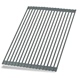 Hhyn Roll Up Dish Drying Rack 20.5'(L) x 14'(W) - Stainless Steel and Silicone Dish Drying Mat Over the Sink Foldable Drain Rack Multipurpose Dish Drainer Extra Large, Gray