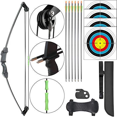 Archery Kids Bow Set Compound Youth Birthday Gift Bow Sports Hunting Set Outdoor Practice Target Kids Toys Bow Right and Left Hand Bow Set for Age 6 to12