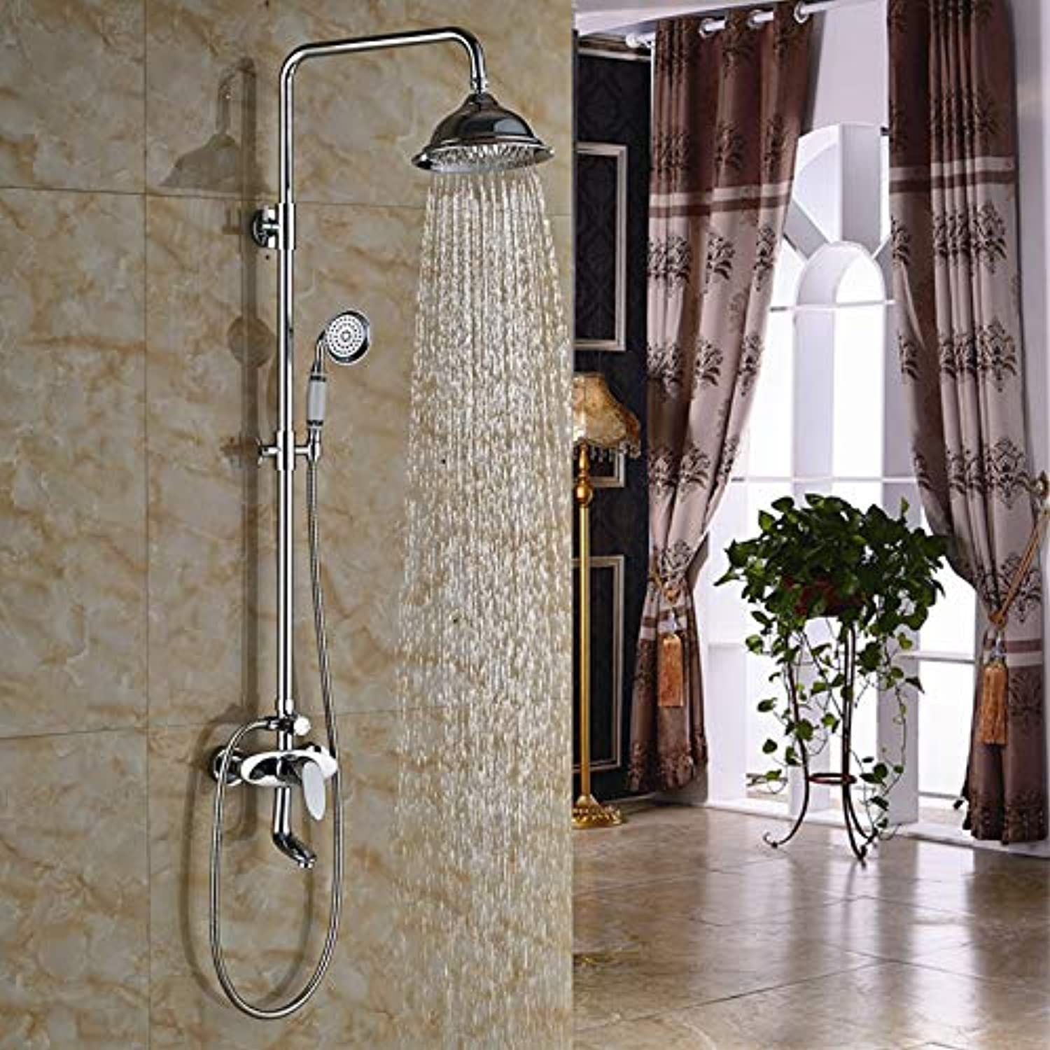 Wall Mount Luxury 8  Brass Rainfall Shower Faucet Set One Handle Swivel Tub Shower Mixer Tap Chrome Finish
