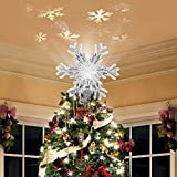 HLL Christmas Tree Topper Lighted with Snowflake Projector, LED Magic Rotating Snowflake, 3D Glitter Lighted Sliver Snow Tree Topper...