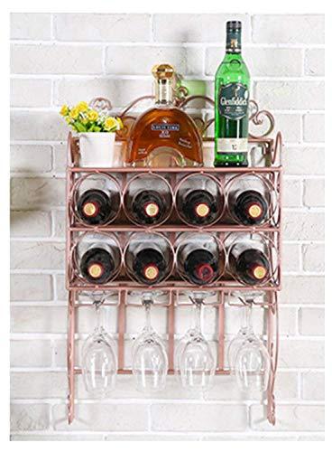 Accueil Outils de cuisine Gadgets Casier à vin mural et porte-verre Les accessoires de décoration de bar pour la maison et la cuisine peuvent accueillir 8 bouteilles de vin rouge et 8 gobelets en