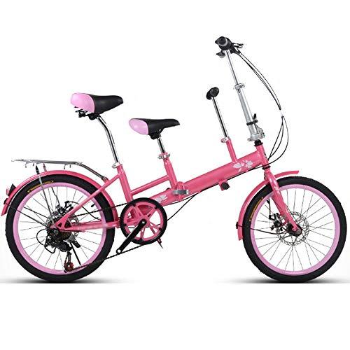YUMEIGE Kinderfahrräder 20 Zoll Fahrrad, Mutter und Kind Tandem Folding Shifting Scheibenbremse Zaun Sicherheitsgurt Doppel Mutter Abholen Kind Fahrrad Verfügbar (Farbe : Rosa)