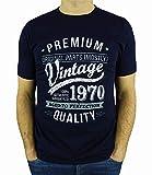 My Generation Gifts Vintage Year - Aged To Perfection - Regalo di Compleanno Per 50 Anni Maglietta da Uomo Blu Marino L