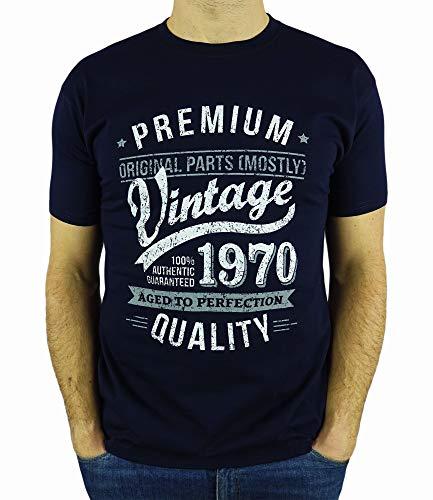 My Generation Gifts Vintage Year - Aged to Perfection - 50 Cumpleaños Años - Regalo de Cumpleaños Camiseta para Hombre - Azul Marino L