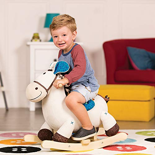 B toys – Banjo Wooden Rocking Horse – Rodeo Rocker – BPA Free Soft Riding Horse Toy for Toddlers and Babies 18m+