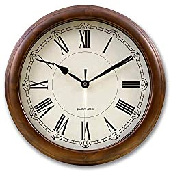kesin Silent Wall Clock Wood 14 Inches Retro Round Classic Wall Clocks Large Decorative Battery Operated Non Ticking Analog Vintage Quartz Clock for Living Room, Kitchen, Office, Home (Roman Numeral)
