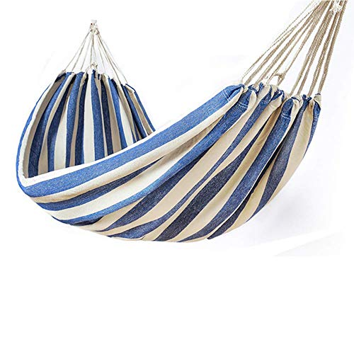 Wghz Outdoor Cotton Hammock, Load Capacity Up to 200 Kg, with Accessories, Portable for Courtyard Garden, Outdoor Camping, Student Dormitory, Family Outdoor Meal (Blue,Single)