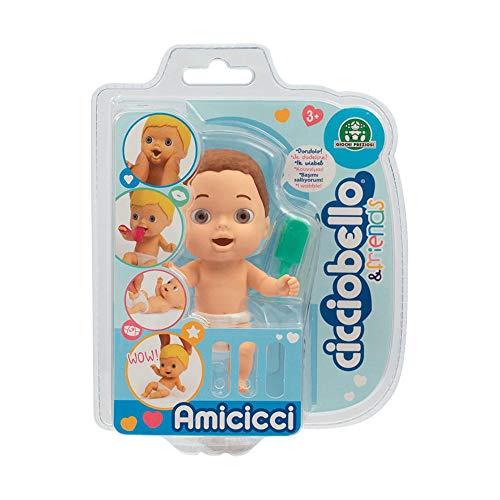 Cicciobello- CCB Amicicci Blister 1, Tenero Bebè Castano, Mini Personaggio Morbidoso con Accessorio, Multicolore, CC002300