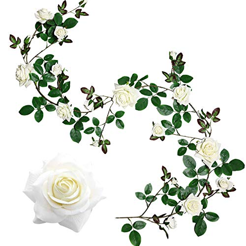 Veryhome Seda Artificial Rosa Flores Ivy Garland Vides Falsas Hojas de Plantas Colgantes para Banquete de Boda Jardín Pared de San Valentín Decoraciones (Blanco Versión Mejorada)
