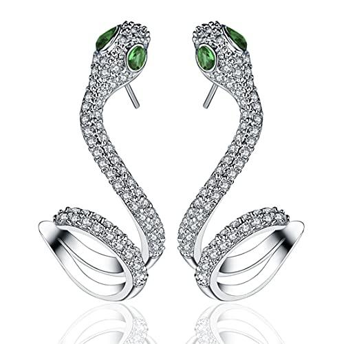 Pendientes de Serpiente para Mujer, Aretes Colgantes de Serpiente, PAWT Pendientes Colgantes de Serpiente Cubic Zirconia Ley 925 Ear para Mujer