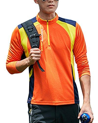 Homme Femme Manches Longues Chemises T-Shirts De Sport Séchage Rapide Respirant Outdoor Escalade Tops Haut Orange Hommes L