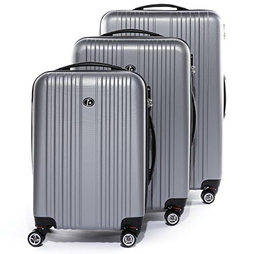 FERGÉ Set di tre valigie TOULOUSE - bagaglio rigide duro da 3 - tre pz. valigie con 4 ruote (360) - pelle brown