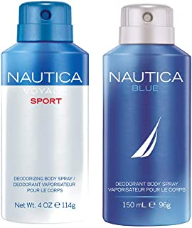 Nautica Voyage and Blue Deodorizing Body Spray for Him, 300ml (Pack of 2)
