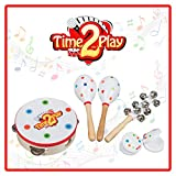 Time2Play Wooden Musical Instruments for Toddlers, Children & Babies Includes 2 Maracas, 1 Tambourine, 2 Castanets, 1 Hand Bell Perfect Music Toys to Create a Wonderful Family Band (Toy)