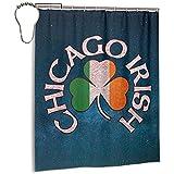 Sherry K-Shower Curtains Cortina de Ducha Chicago Irish Shamrock Ducha de baño con Ganchos Conjuntos de Cortinas de baño de Tela Resistente al Agua (183cm x 183cm)