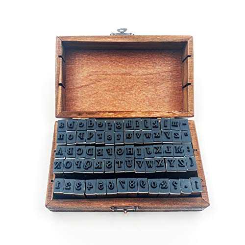70pcs/Set DIY Number Alphabet Combination Letter Stamp Diary Ablum Wedding Letter Wood Rubber Stamp Set with Vintage Wooden Box Gift