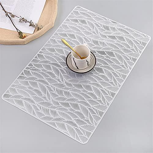 Manteles individuales,Mantel individual rectangular creativo moderno y simple, tazón de fuente nórdico antideslizante resistente al calor para el hogar de 6 piezas, plateado
