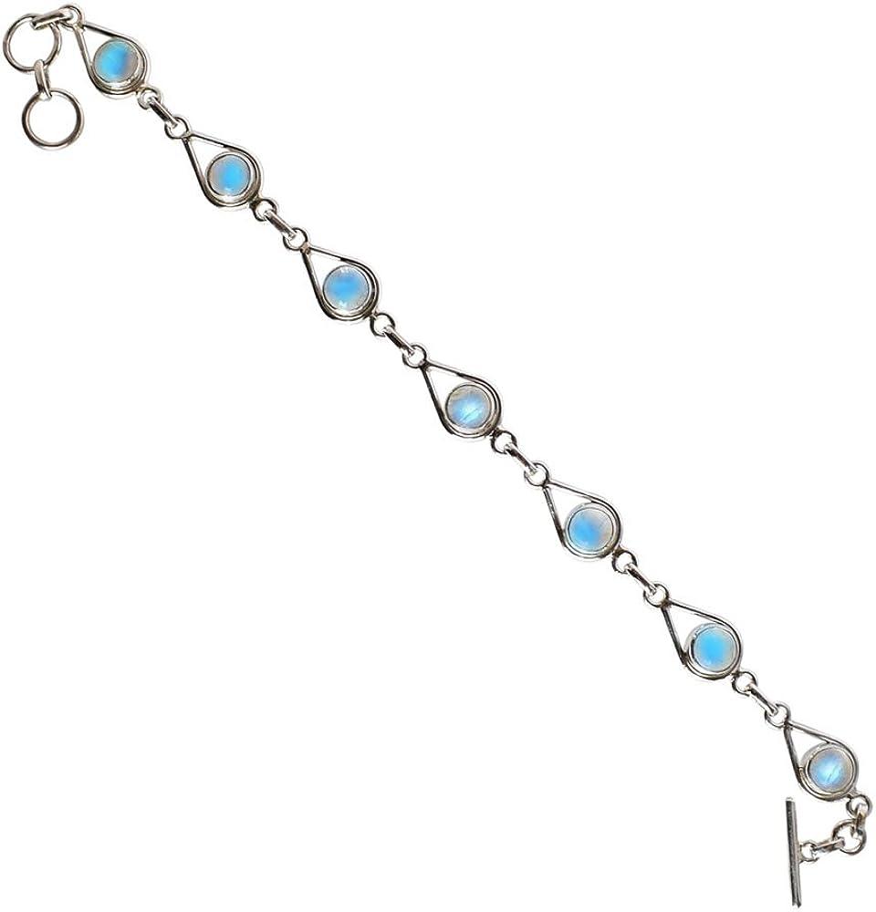 Rainbow Moonstone Gemstone Max 53% OFF 925 Solid At Luxury goods Silver Bracelet Sterling