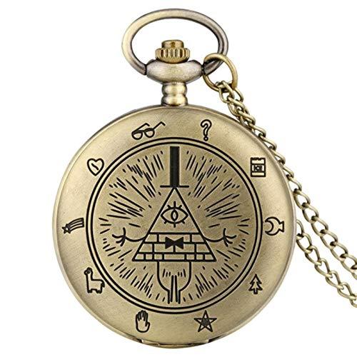 ZMKW Ojo de la Providencia Weird Town Triangle Devil Quartz Reloj de Bolsillo Time Gem Collar Colgante Reloj Regalos,...