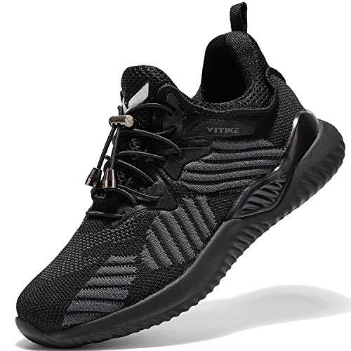 VITIKE Kinder Turnschuhe Jungen Sport Schuhe Mädchen Kinderschuhe Sneaker Outdoor Laufschuhe, 31 EU , 8 Alles Schwarz