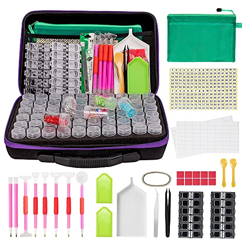 HOHOTIME 60 Slots Diamond Embroidery Box, 142pcs 5D Diamond Painting Accessories Kit, Storage Container Jars, Trays, Diamond Art Storage for DIY Art Craft