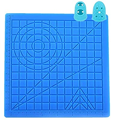 3D Pen Silicone Mat with Basic Multi-Shaped Art Craft and 2 Silicone Finger Caps for Kids Beginner Designing Compatible with All 3D Pen Best Tools for 3D Beginners