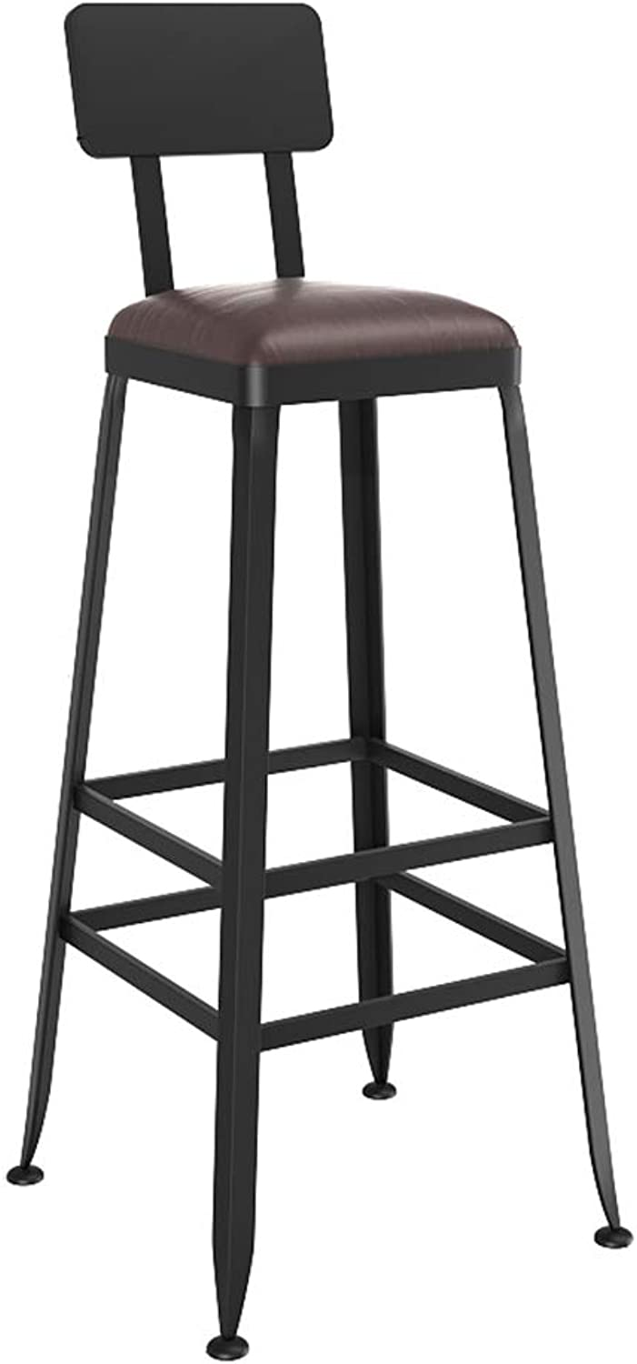 Retro Industrial Style Barstools Bar Stools Faux Leather High Chair with Footrest for Breakfast Bistro Counter Kitchen Home Bar Chair (Seat Height 75cm)
