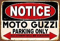 TIBBNG モトグッツィ駐車場 レトロなスタイルの鉄板金壁ティンサインリビングプラークポスターノスタルジックなアート装飾8X12インチ
