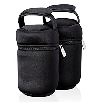 Tommee Tippee Insulated Bottle Bag and Bottle Cooler - Keeps Cold or Warm Bottles - 2 Count Black