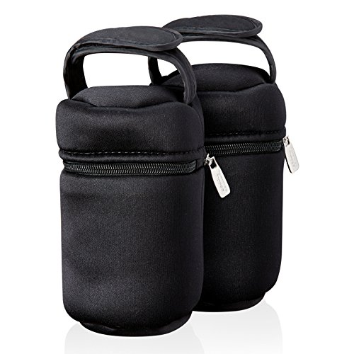 Tommee Tippee Insulated Bottle Bag and Bottle Cooler - Keeps Cold or Warm Bottles - 2 Count, Black
