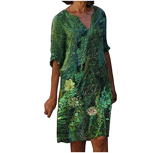 StarneA Vestido de verano para mujer, largo hasta la rodilla, sexy, cuello en V, holgado, informal, largo hasta la rodilla, para la playa, Mujer, Z verde., extra-large