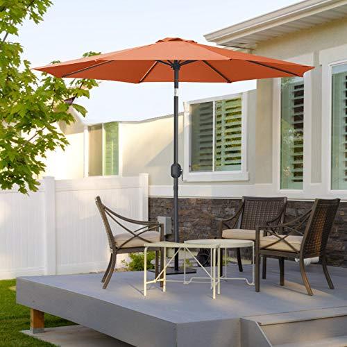 MasterCanopy 270cm Sonnenschirm Fe-Al Market Tischschirm im Freien mit 8 stabilen Rippen,orange