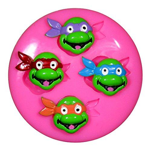 Tortugas Adolescentes Mutantes Ninja x4 TMNT Molde de silicona para la torta de Decoración Pastel de Cupcake Toppers Glaseado Sugarcraft Tool por Fairie Blessings