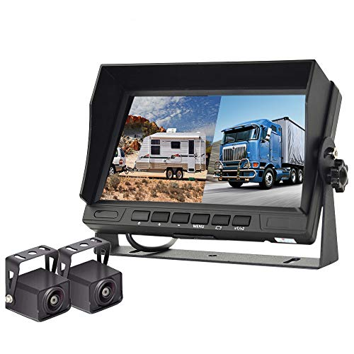 HD 1080P RV Backup Camera with 7 Inch DVR Split Screen Monitor for RVs,Trucks,Trailers, Rear and Front View Cameras, Color IR Night Vision, IP68 Waterproof, Stable Signals, Easy Installation