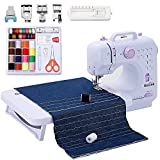 Gnixne Sewing Machine with Extension Table Portable Sewing Machines for Beginners 12 Built-in Stitches 2 Speed with Foot Pedal,Light,Accessory Kit