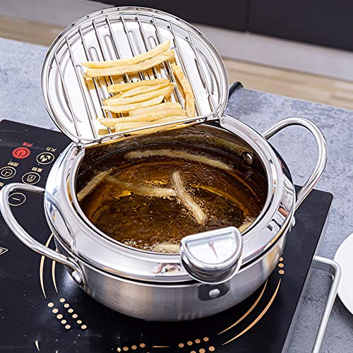 HONGTAO Deep Frying Pot Stainless Steel Tempura deep Fryer with Thermometer and Lid Household Deep Fryers Fried Chicken Pot Cooking Tools(9.45in 3.2L)