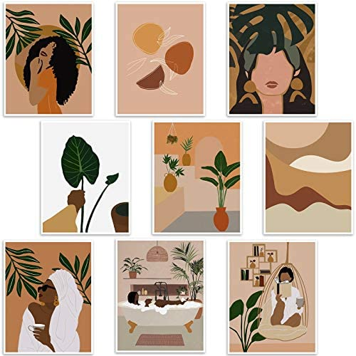 Tatuo 9 Pieces Women Leaf Canvas Wall Art Minimalist Canvas Wall Painting Modern Woman Plant Art Painting Minimalist Abstract Boho Wall Art for Living Room Bedroom Decoration, 8 x 10 Inches, No Frame