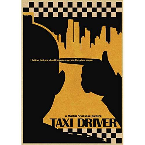 Fymm丶shop Taxi Driver Movie Poster Pintura Antigua Sala De Estar Dormitorio Sala De Estar Vintage Decoración del Hogar Pintura Sin Marco 40X60Cm (E1394)