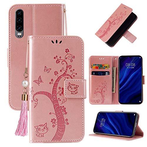 Miagon Brieftasche Flip Hülle für Huawei P30,Schön Schmetterling Baum Katze Design PU Leder Buch Stil Stand Funktion Handyhülle Case Cover,Roségold