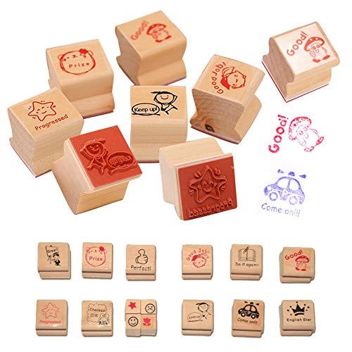 EQLEF® 15 PCS di Legno del Fumetto DIY Stamp Maestro Commenti Incoraggiare Stamp